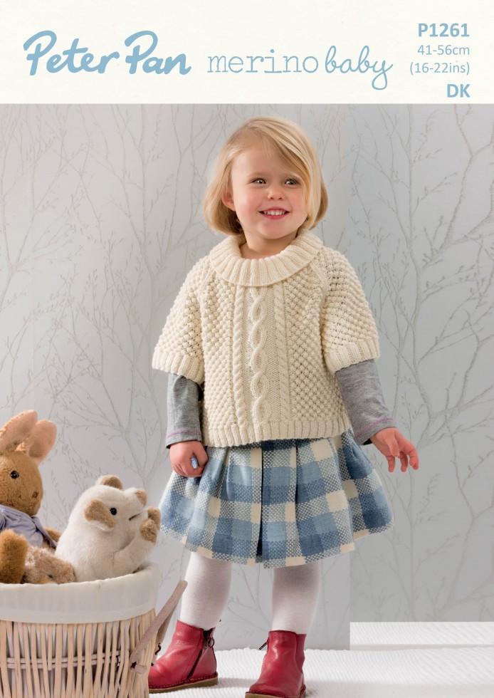 9959815c555b Wendy Peter Pan P1261 Poncho Sweater use Peter Pan Merino Baby DK yarn ( 3